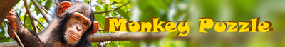 "Monkey in tree with app title text ""Monkey puzzle"""
