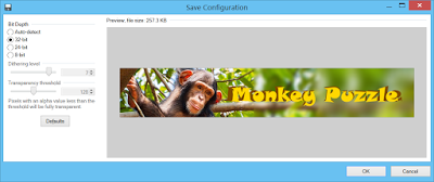 """Paint.NET PNG save dialog with """"32bit"""" level selected for Bit depth"""