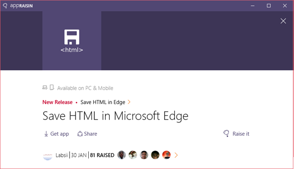 Save HTML in Edge | AppRaisin