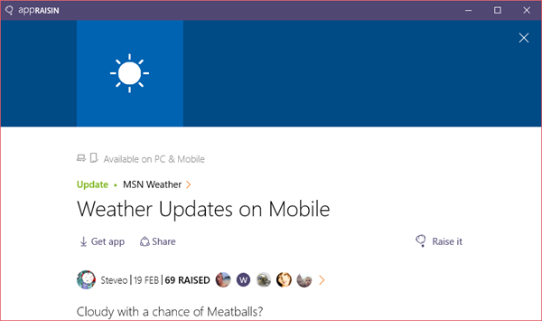 MSN Weather | AppRaisin
