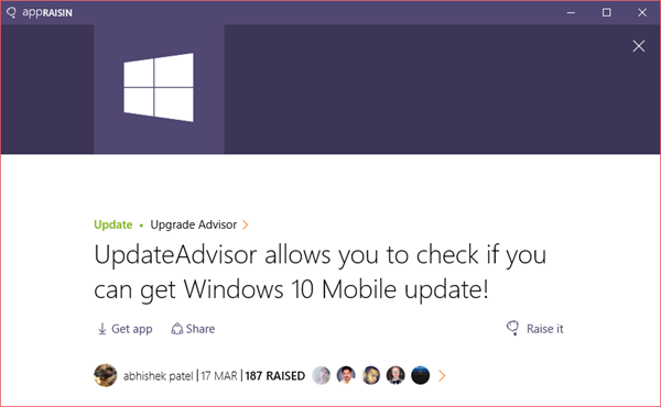 Upgrade Advisor | AppRaisin