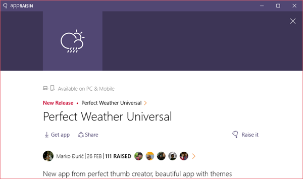 Perfect Weather Universal | AppRaisin