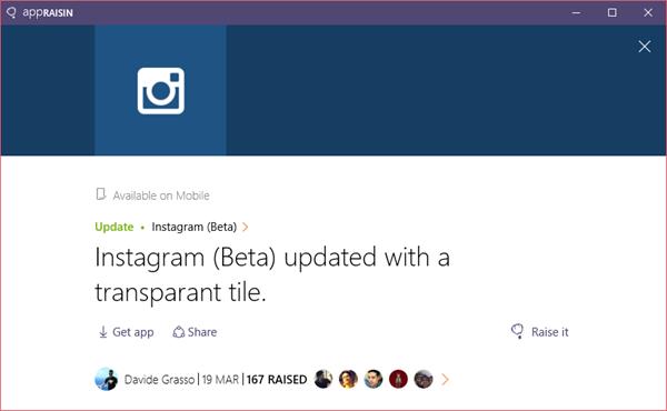 Instagram (Beta) | AppRaisin