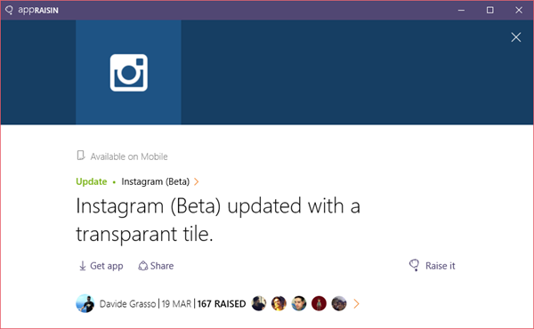 Instagram (Beta) | AppRaisin