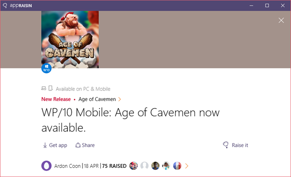 Age of Cavemen | AppRaisin