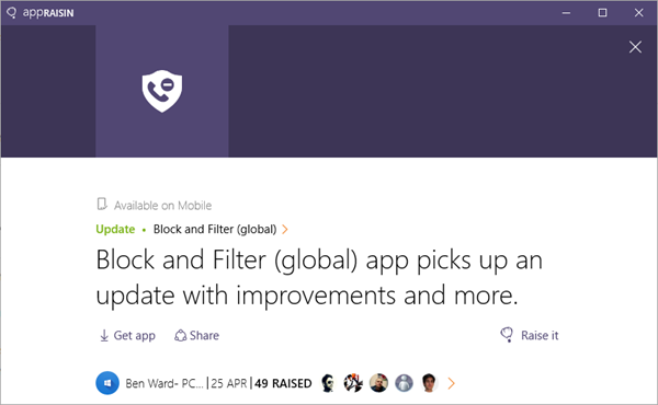 Block and Filter (global) | AppRaisin